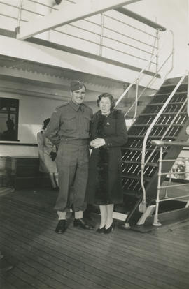Leslie H.P. Underwood with Emily Agnes Underwood on boat to Vancouver before going overseas