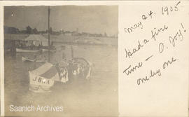 Postcard of decorated boats at an event in the Inner Harbour, Victoria