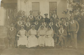 Nurses and convalescent soldiers outside military hospital