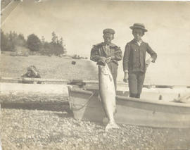 Jack Elliott and Arthur Jeune, with 25 pound salmon caught by Jack Elliott