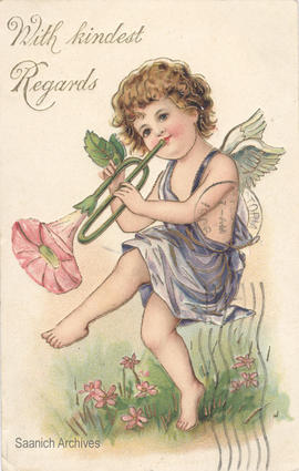 Greeting card depicting cherub playing a flower trumpet