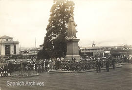 Guides, Scouts, Cadets and others gathered at the Queen Victoria statue on the grounds of the BC ...