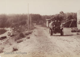 Automobile on the West Saanich Road near First Nations village, Patricia Bay, 1904