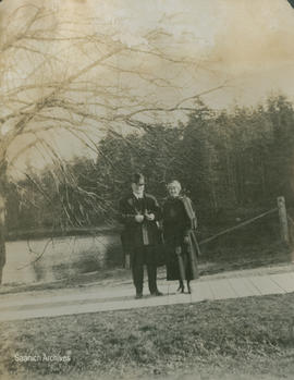 Members of the Cameron family on sidewalk at the Gorge, 1919
