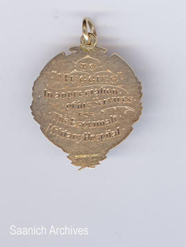Esquimalt Military Hospital medal (back) awarded to Muggins