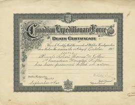 Canadian Expeditionary Force death certificate for Private Robert Thomas M. Kellow