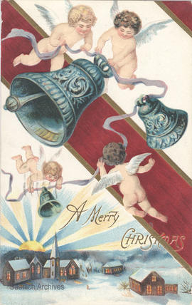 "Christmas card with cherubs and bells, caption ""A Merry Christmas"""