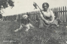 Irene McMorran and dog at Dingley Dell, Agate Lane