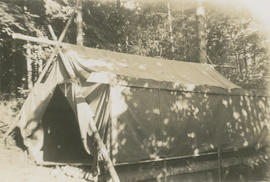 Tent that Leslie and Emily Underwood lived in at 5424 Fowler Road during construction of their ne...