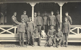 Postcard of Muggins the Red Cross dog with a group of injured soldiers at Esquimalt Military Conv...