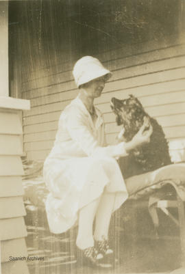 Maude Hall with a dog, Loenholm Road, 1930