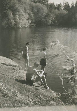 Commander Harrison, Pixie, and Joyce [Lytton] at Thetis Lake