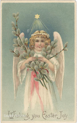 Postcard with Easter message, angel and pussy willows