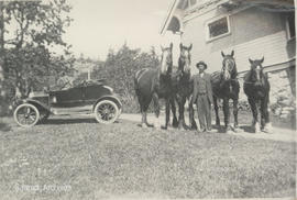 Arthur Harris and team of work horses, McMorran property on Pear Street and Cedar Hill Road