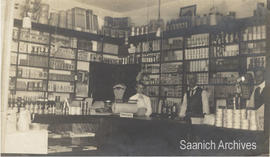 Interior of Wm. J. Chave & Son grocery store with Mary Chave, William Chave and Reginald Chav...