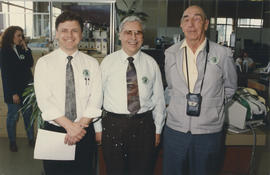 "Doug Stein, Ken Middleton, and Roy Wooten wearing ""Mr. Saanich"" [Ken Middleton] pins"