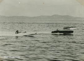 "Bill Strompkins and Frank Sontag ""The Water Dog"" racing in their boats at the Cordova B..."