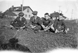 Patrick Hope and others holding sports equipment