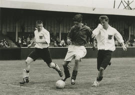 Soccer game, Rick Blake at left, ca. 1958