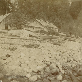 """Indian huts and canoe"", Jordan River"