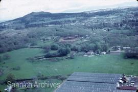 Aerial photograph showing greenhouses [near Swan Lake/Christmas Hill]