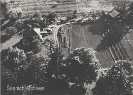 Aerial view of Winterburn family farm, Cordova Bay