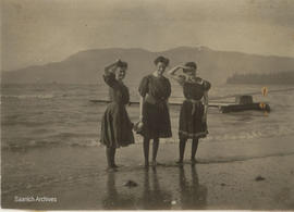 Ladies at Cordova Bay Beach [Marguerite McMorran on right?]