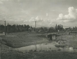 [View of two bridges crossing Colquitz River]