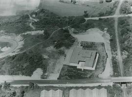 Aerial view of Saanich Health & Welfare Building, 1963