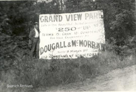 Advertising sign for Grand View Park subdivision,  Shelbourne Street, 1912
