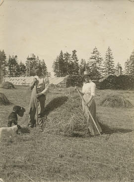 Henry and Caroline Dunn and their dogs on their farm at Glanford and Kenneth