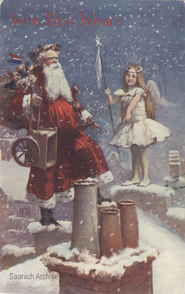 Christmas card (postcard) of Father Christmas and fairy on rooftop