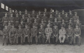 Group portrait of flight officers at South African Air Force training facility, Kimberley, South ...