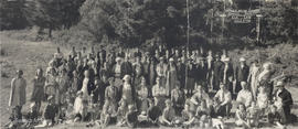 Group portrait of the Victoria Welsh Society annual picnic at Elk Lake, 1 July 1938