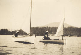 """Dody and Harry at Deep Cove - our camping spot"""