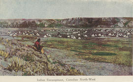 "Postcard captioned ""Indian Encampment, Canadian North-West"""